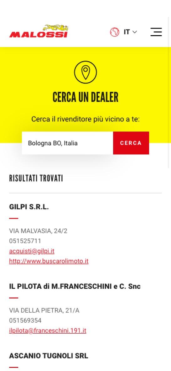 Malossi Sito Web Mobile
