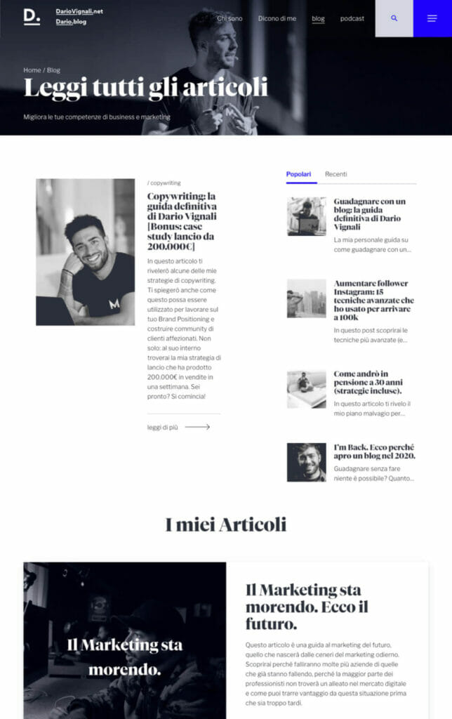 Dario Vignali Sito Web Desktop 3